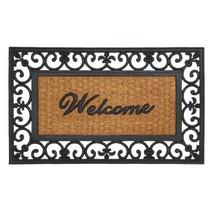 Outdoor Welcome Mat, Fleur-de-lis Framed Decorative 18x30 Coir Doormat - $27.49