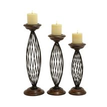 * Traditional Metal Wood Candle Holder - Set of 3* - $124.15