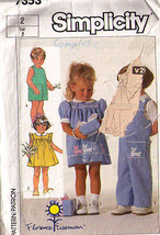 1986 DRESS & OVERALLS Pattern 7353-s Toddler Size 2 - Complete - $9.99