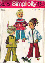 1969 TOP & BELL-BOTTOM PANTS Pattern 8522-s Toddler Size 2 - Complete - $9.99