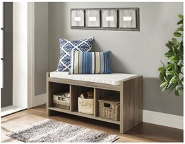 Entryway Storage Bench Beige Cushion Seat Wooden Furniture Bedroom Organ... - $151.99
