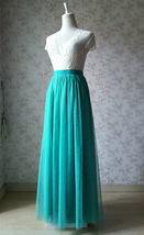 Women Full Maxi Tulle Skirt High Waist Green Wedding Party Bridesmaid Skirt Plus