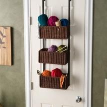 Over Door Basket Storage 3 Tier Smart Hanging Organize Towels Yarn Ratta... - $78.99