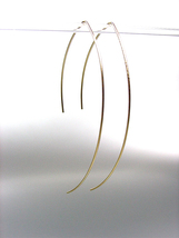 CHIC Urban Anthropologie Thin Gold Plated Metal Wire Threader Dangle Ear... - $15.99