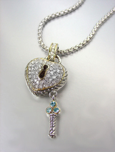 STUNNING Silver Cable Gold Pave CZ Crystals Heart Key Pendant Necklace - $29.99