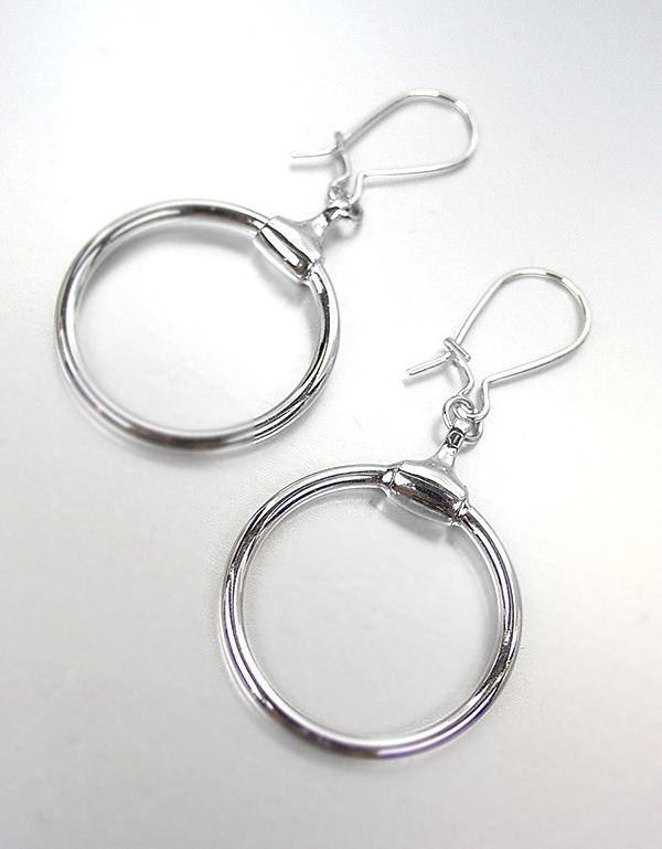 Primary image for CHIC & ELEGANT! Designer Inspired Silver Plated Horsebit Ring Dangle Earrings
