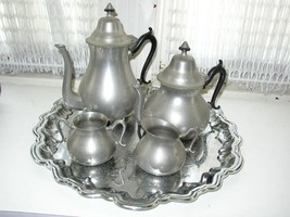Vintage, Made in Holland or Netherlands, 5-pc Pewter Coffee and Tea Service - $118.70