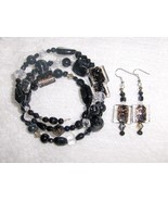 Black Tie Affair Glass and Ceramic Bead Gypsy Bracelet and Earring Set h... - $8.00