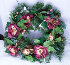 "SALE! NIB Partylite Damask Rose Silk Flower Wreath For 6"" Candles - PO091 - $3.50"