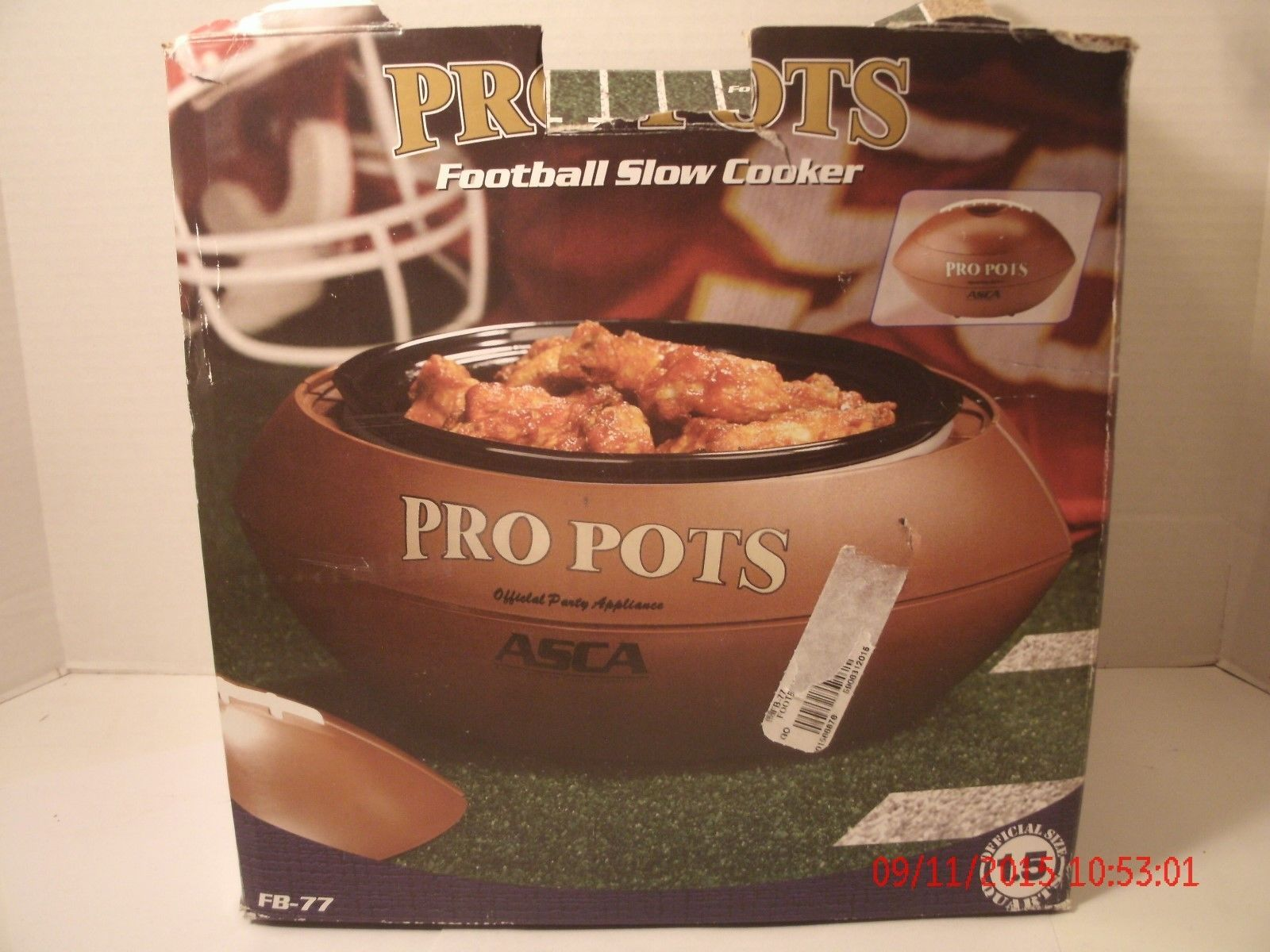 Pro Pots 1.5 Quart Football Shaped CrockPot Tailgate Party Superbowl Works w/Box