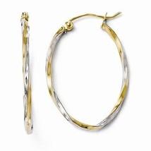 10 K Two Tone  Designer Leslies Oval Twist Hoop Earrings  Hollow Hoops (2x29mm) - $75.42