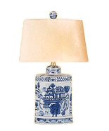 Vintage Style Blue and White Porcelain Blue Willow Tea Caddy Table Lamp ... - $178.19