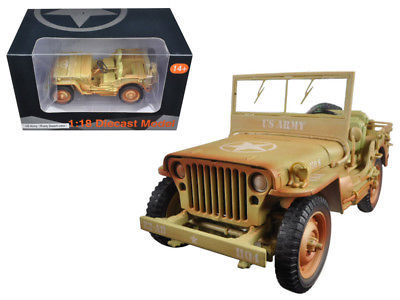 US Army WWII Jeep Vehicle Desert Color Weathered Version 1/18 Diecast Model by