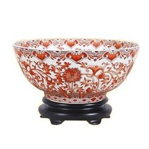 "Vintage Style Orange/Coral and White Porcelain Bowl 12"" Diameter - $168.29"