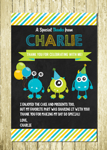 Little Monster Personalized Printed Birthday Thank You Cards Notes - $10.00