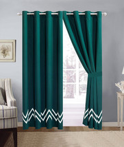 4-P Alpen Zigzag Saw Teeth Embroidery Comforter Set Teal Green White She... - $40.89
