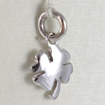 White Gold Pendant 750 18K Four-Leaf Solid, Long 1.7 CM, Made IN Italy image 1