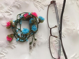 Rose Eye Glasses Chain,Spectacle chain,Multicolor Spectacle Holder,Green... - $15.00