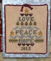 Love Peace Hope Tree christmas cross stitch chart Abby Rose Designs - $8.10