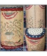 Flag and Flowers Tall Drum cross stitch chart Dames Of The Needle - $8.55