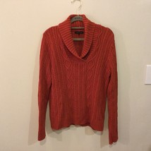 Jeanne Pierre Burn Orange 100% Cotton V-Neck Knitted Sweater, size L