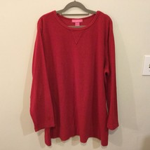 Woman Within Red Fleece Long Sweater Polyester Cotton Crew Neck, size XL
