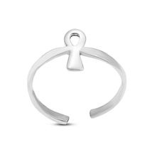 Sterling Silver Women's Ankh Toe Ring In 14k White Gold Plated Adjustabl... - $9.99