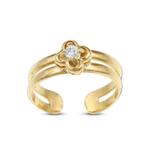 Women Fashion 14k Gold Fn Silver Sterling 925 Flower Toe Ring Adjustable... - $9.99