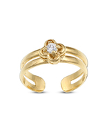 Women Fashion 14k Gold Fn Silver Sterling 925 Flower Toe Ring Adjustable... - £11.46 GBP
