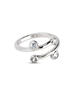 Fashion Women's Simple Solid 925 Silver 14k White Gold Over Adjustable T... - £8.09 GBP