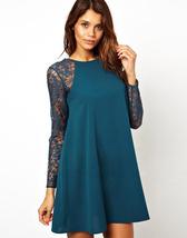 Elegant Women Ladies Lace Crochet Hollow Out Long Sleeve Mini Dress Dresses - $13.50