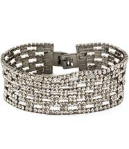 Silver Tone One Inch Wide Luxury Bridal Crystal Bracelet - $26.54