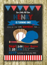 Baseball Theme Personalized Printed Birthday Invitations - $10.00