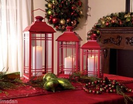 """Red Holiday Mission Style Candle Lanterns - Large 20""""  17"""" & 14 Inch,  S... - £51.31 GBP"""