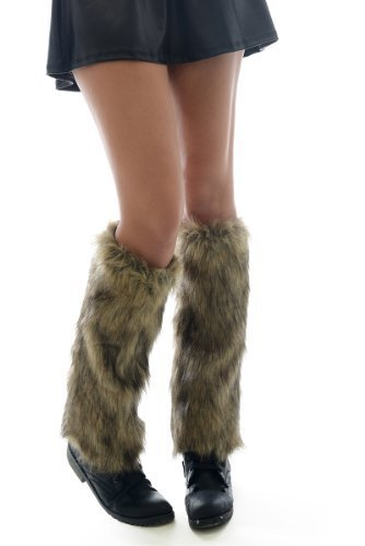 Furry Leg Warmer with Contrasting Highlights (one size, tan/brown)