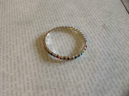 Stretchy Silver Tone Bracelet with Multicolored Rhinestones