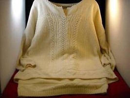 Women's Cream Knit Sweater and Skirt Outfit