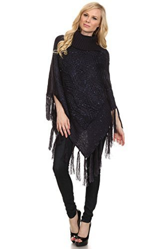 Primary image for ICONOFLASH Women's Metallic Fringed Sweater Poncho Cape, Navy Blue