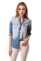 ICONOFLASH Women's Polka Dot Chambray Button Down - $34.64