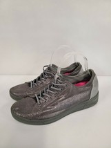 DKNY Womens Ivy Gray Gunmetal Lizard Foil Sneakers Size 10 Shoes Lace Up... - $39.99