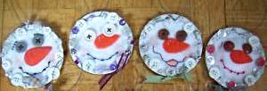 Kerr Jar Lid Country Crafted Felt Button Snowman Ornaments OOAK image 2