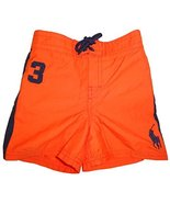 Polo Ralph Lauren Infant Boy's Big Pony Swim Trunks Basketball Orange (1... - $41.58
