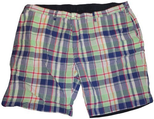 Men`s Polo by Ralph Lauren Big and Tall Reversable Shorts Green Plaid/Navy Si...