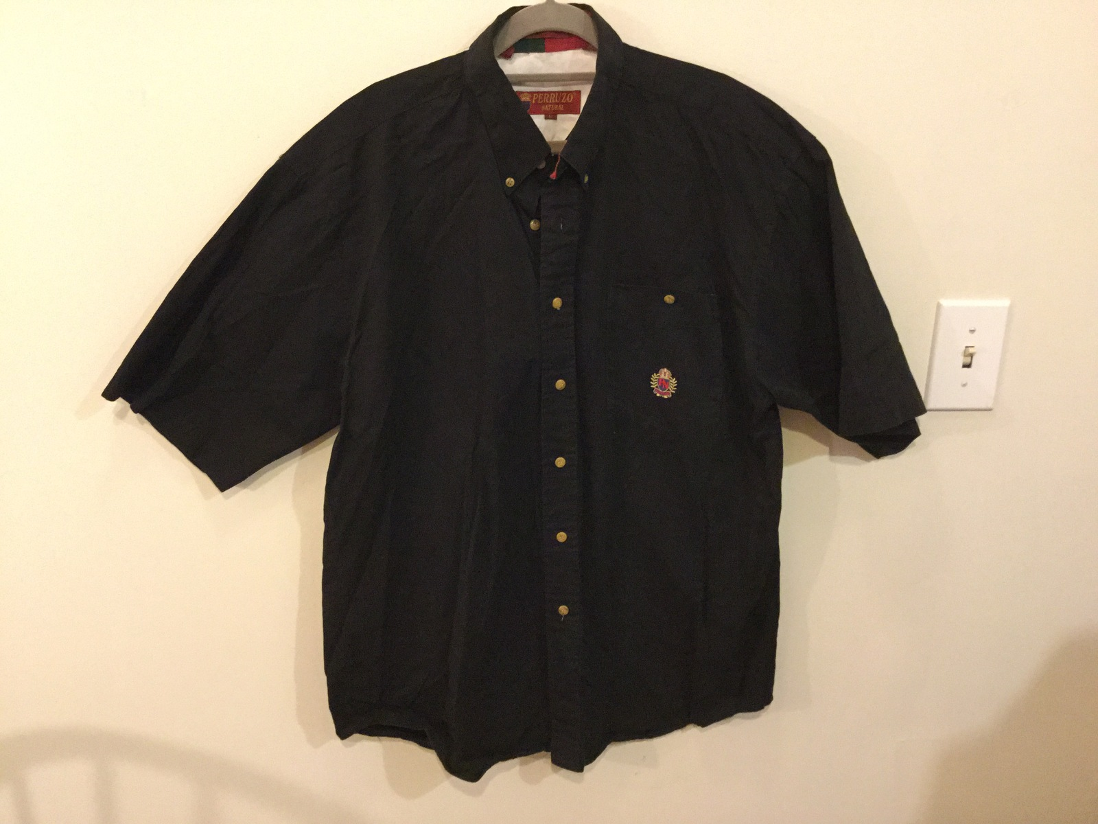 Perruzo Natural Mens Black 100% Cotton Button Up Short Sleeve, size L