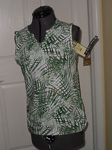 Palm Harbour Knit Top Shirt Size Ps Sretch Green White Print Nwt  - $14.79