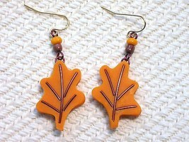 Orange Brown Autumn Fall Oak Leaf Leaves Handma... - $1.99