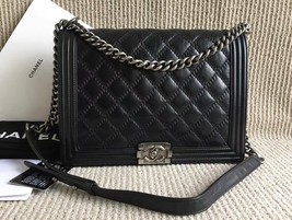 AUTH CHANEL BLACK DOUBLE STITCHED QUILTED CALFSKIN LARGE BOY FLAP BAG Receipt