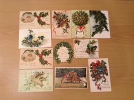 Lot of 10 Antique Christmas Holiday and 1 Thanksgiving Postcards, all 1900's