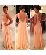 Nude back Chiffon Lace top Bridesmaid Dresses - $59.00