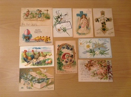 Lot of 10 Antique Easter Holiday Postcards, all from 1900's